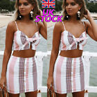 UK 2pcs Women Crop Tops Mini Skirt Set Strappy Summer Beach Striped Bow Clothes