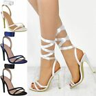 Womens Ladies High Heel Wedding Party Sandals Lace Ankle Tie Up White Satin Size