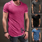 Men's Slim Fit Vintage Short Sleeve Muscle Tee T-shirt Ripped Casual Tops Blouse