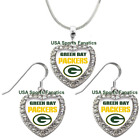 Green Bay Packers 925 Necklace / Earrings or Set Team Heart With Rhinestones $8.99 USD on eBay
