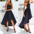 Sexy Bandeau Off Shoulder High Low Hem Long Prom Ball Gown Cocktail Party Dress