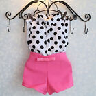 Внешний вид - Summer Girls Baby Kids Polka Dot Shirt Tops & Pink Pants Shorts Outfit 1-6Years