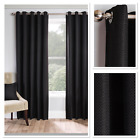 Warwick Woven Textured Blockout Thermal Fully Lined Eyelet Curtains Black