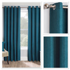 Warwick Woven Textured Blockout Thermal Fully Lined Eyelet Curtains Teal
