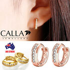 Calla 18k Yellow / Rose Gold Huggie Clear Crysal Circle Hoop Earrings Jewelry