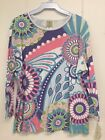 Jess and Jane Jubilant Multi-Colored 3/4 Sleeve Shirt Size New with Tags