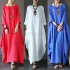 Women Crew Neck Loose Oversized Casual Solid Cotton Baggy Long Maxi Dress