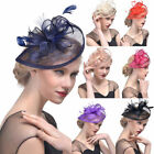 Внешний вид - Hat Feather Mesh Net Veil Party Hat Flower Hat with Clip and Hairband for Women