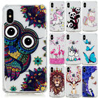 For iPhone X XS XR 5 6 7 8+Shockproof Pattern Clear Soft TPU Rubber Case Cover