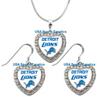 Detroit Lions 925 Necklace / Earrings or Set Team Heart With Rhinestones on eBay