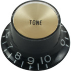 Guitar Knob - Top Hat, Black with Gold Cap, Tone for sale