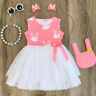 US Toddler Kid Baby Girls Clothes Princess Party Prom Bowknot Tutu Summer Dress