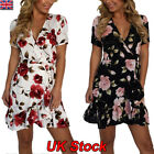 Women Summer Wrap V-neck Evening Party Floral Chiffon Mini Dress Cocktail 6 - 18