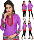 Purple Machine Washable Bollywood Indian Short Kurti Tunic Kurta Top Shirt 104D