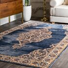 nuLOOM New Traditional Vintage Medallion Area Rug in Navy Blue, Ivory, Brown