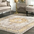 nuLOOM Traditional Vintage Medallion Area Rug in Silver Grey, Gold Yellow