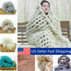 3 Size Luxury Handmade Knitted Blanket Chunky Warm Wool Throw Bed Soft Bedspread image
