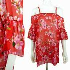 Red Floral Summer Kaftan Holiday Cover Up Beach Wear Chiffon Cold Shoulder
