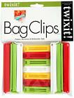 Twixit! Linden Sweden Bag Clips, White/Yellow/Red/Lime, Set of 6 Large and 7