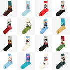 6 Pairs Men Cotton Crew Socks Oil Paiting Pattern Vintage Socks Christmas Gifts
