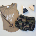 USA Newborn Toddler Baby Boy Girl Clothes Vest Tops+Camo Shorts Outfits Set