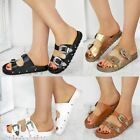 Womens Ladies Flat Slip On Sandals Sliders Studded Wide Strap Summer Mules Size