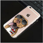 Cheerful Pit Bull Wear Sunglasses I Love Mom Badge Soft Case for iPhone
