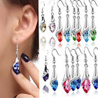 Women 925 Sterling Silver Crystal Long Drop Dangle Hook Earrings Jewelry