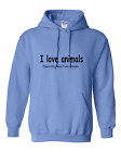 Pullover Hooded hoodie sweatshirt unique I love animals especially deep fried