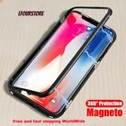 Magnetic Adsorption Phone Case For Iphone X 8 8 Plus Transparent Tempered Glass