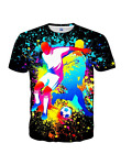 3D Print Colorful Paint Womens Mens Casual T-Shirt Short Sleeve Graphic Tee  EB5