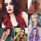 black red purple hair - Fashion Two Tone Full Wig Ombre Black Red Purple Grey Natural Wavy Curly Hair Ed