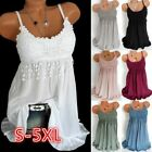 Uk Womens Summer Sling Vest Long Tops Blouse Ladies Lace Casual Mini Dress 6-22