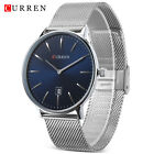 CURREN Quartz Watch Date Display Stainless Steel Band Ultra-Thin Wristwatch Mens
