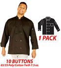 Hilite Uniform Item: 560BK-S,10 Buttons Classic Chef Coat, Long Sleeve