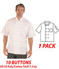Hilite Uniform Item: 540WH,10 Buttons Classic Chef Coat, Short Sleeve - White