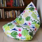 WATERPROOF INDOOR/OUTDOOR BEAN BAG Cover, UV/Mould Resistant Tropical Leaves
