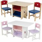 KIDS CHILDRENS TABLE AND 2 CHAIRS SET FOR BOYS OR GIRLS W/ 4 STORAGE BOXES