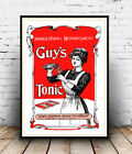 Guy's Tonic for Nervousness , Vintage Magazine  advert, Poster reproduction.
