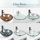Bathroom Tempered Clear Glass Vessel Sink Bath Basin Bowl Faucet Drain Combo US