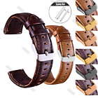 Quick Release Retro Leather Wristwatch Bands Wrist Strap Gold Buckle 18 20 22mm