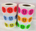 Percent % Off Retail Sticker 3/4 Inch Round Discount Labels 500 Total, 10% - 50%