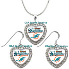 Miami Dolphins 925 Necklace / Earrings or Set Team Heart With Rhinestones $14.99 USD on eBay
