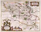 Map Antique 1654 Scotland Blaeu Stirling Old Large Replica Canvas Art Print