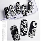 3D Nail Sticker Nail White Flower Drawing Stickers Black White with Back Glue