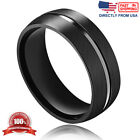Men's Ring, Stainless Steel Brushed Finish 8mm Comfort Fit Wedding Band
