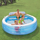 Inflatable Family Lounge Swimming Pool, Built-In Bench & Drink Holders, Summer