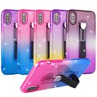 Shockproof color gradient kickstand soft TPU phone case for iPhone X Samsung S9+