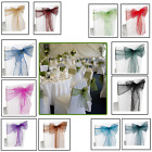 1-100pcs Organza Sashes Chair Cover Fuller Bow for Party Home Function Accessory