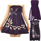 New Womens Plus Size Purple Floral Leaves Sheering Strapless Boob Tube Mini Tops